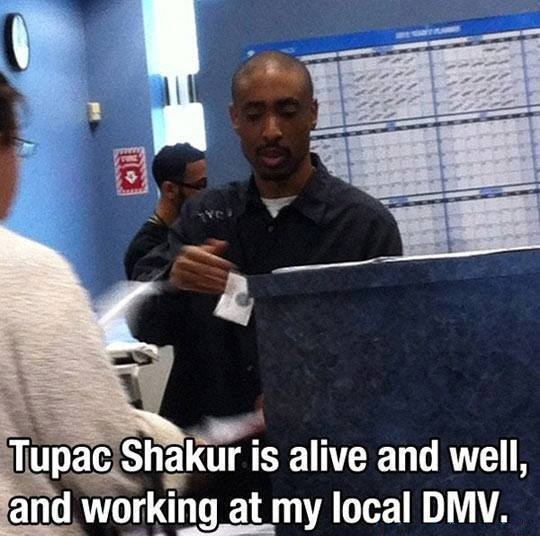 Tupac Shakur is alive and well, and working at my local DMV