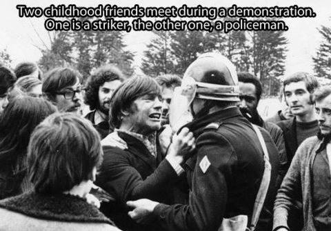 Two chilhood friends meet during a demonstration. One is a striker, the other one, a policeman.