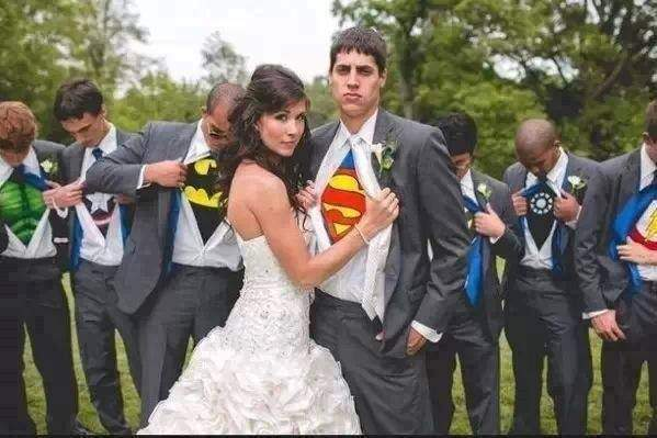 Undercover superheroes on wedding.