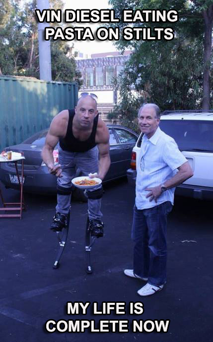 Vin Diesel Eating Pasta On Stilts