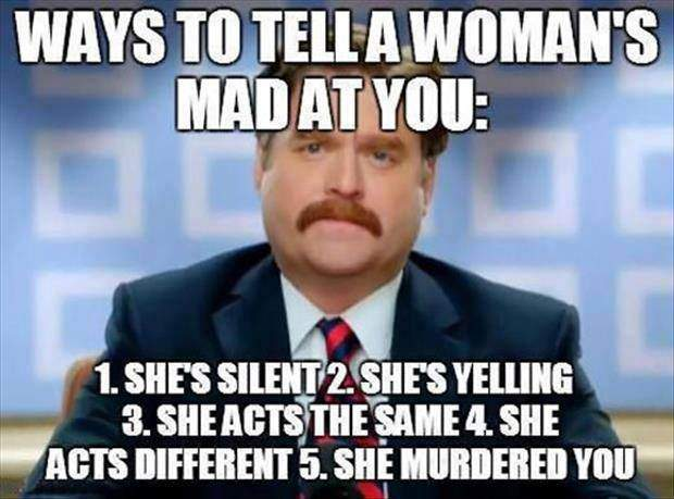 Ways to tell a woman's mad at you;