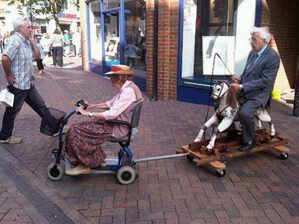 You are never too old to ride a wooden horse