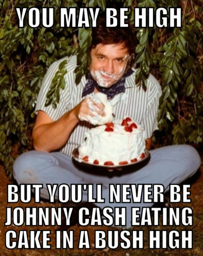 You may be high but you'll never be Johnny Cash eating cake in a bush high