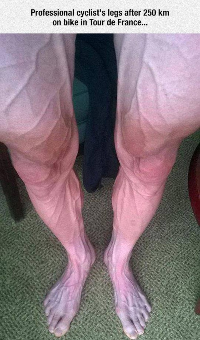 Professional cyclist's legs after 250km..