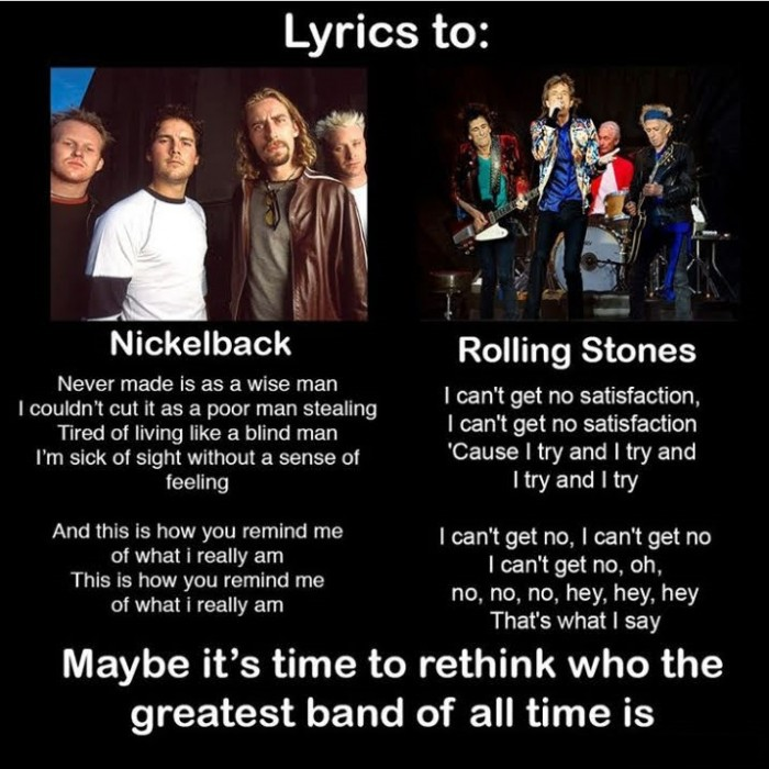 Nickelback vs Rolling Stones Lyrics