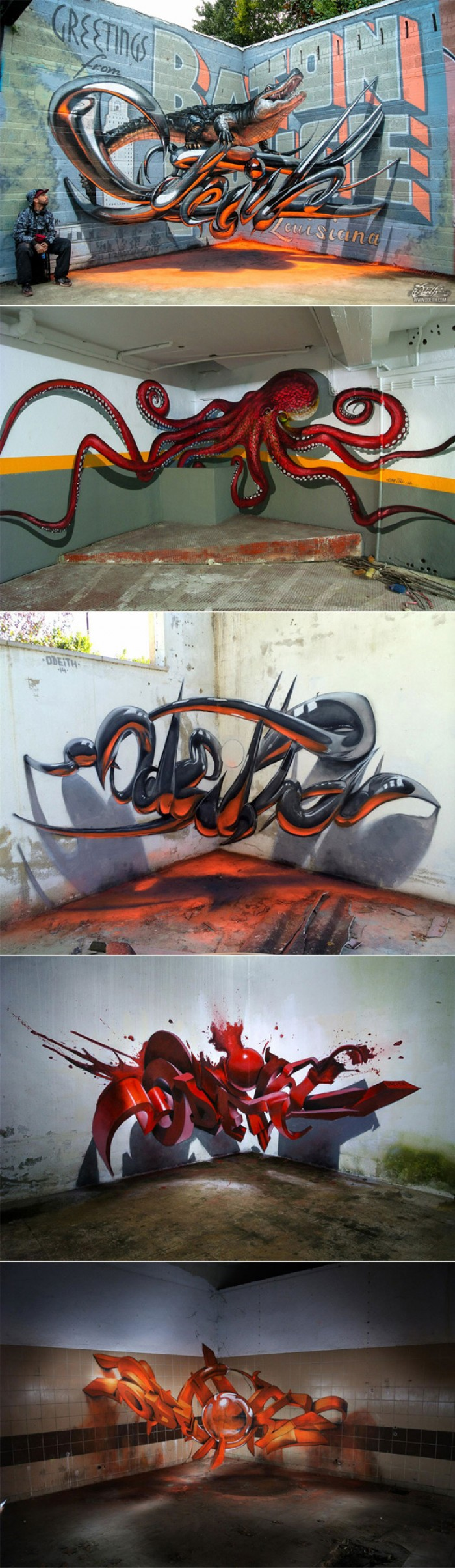 Odeith - 3D street artist creates Grafitti that floats in the air