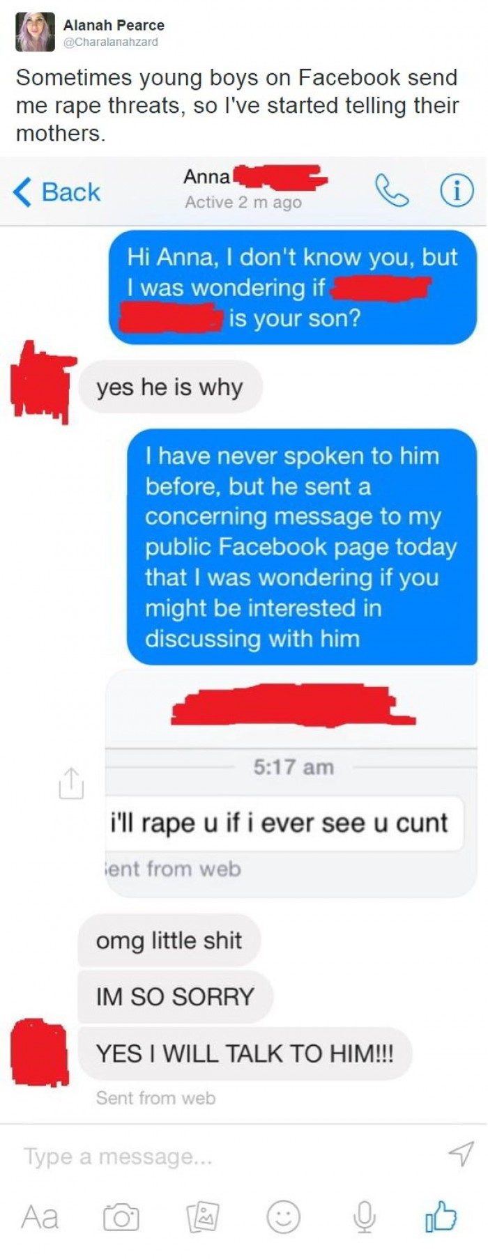 Sometimes young boys on Facebook send me rape threats, so I've started telling their mothers