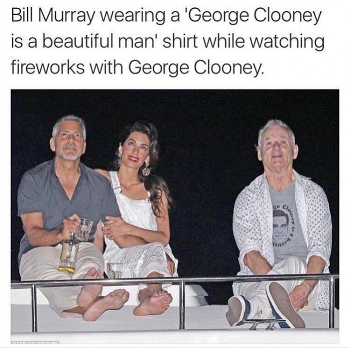 Bill Murray wearing a George Clooney t-shirt..