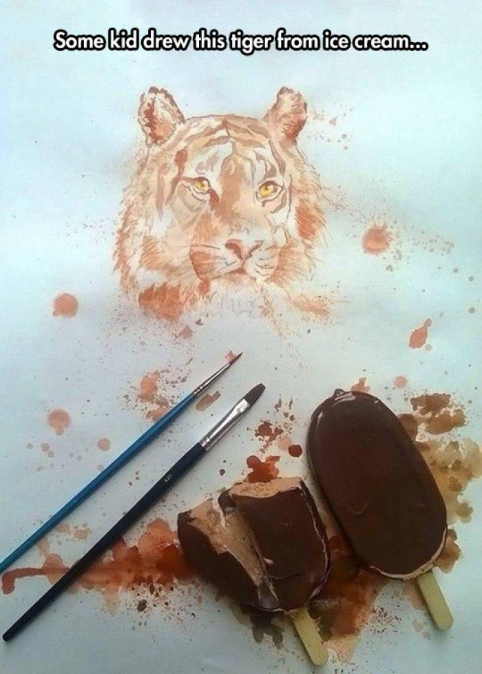 Amazing Tiger Painting From Ice Cream