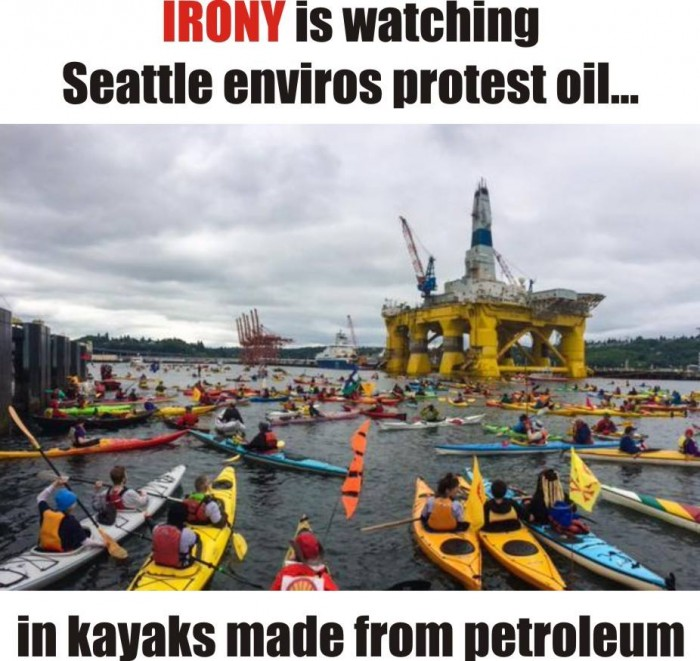 Irony is watching Seattle enviros protest oil in kayaks made from petroleum