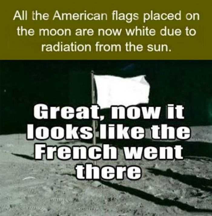 American flag placed on the Moon..