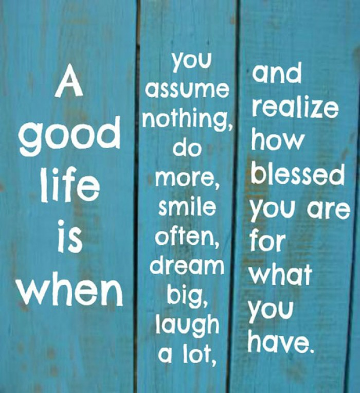 A good life is when you assume nothing, do more, smile often...