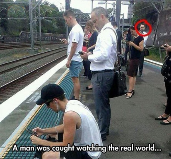 A man was caught watching the real world.