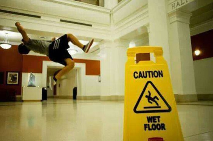 Caution. Wet floor