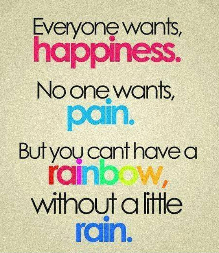 Everyone want happiness no one want pain but ...
