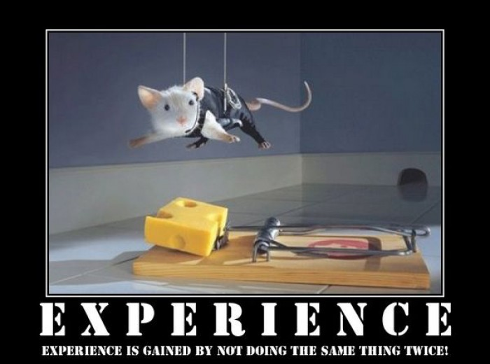 Experience is gained by not doing the same thing twice.