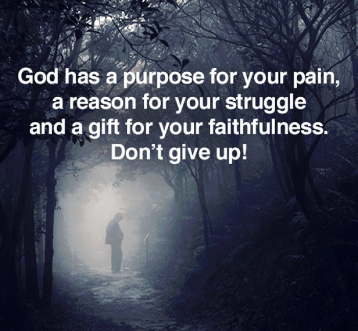 God has a purpose for your pain, a reason for your struggles...