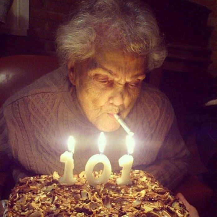Happy hundred first birthday Grandma.