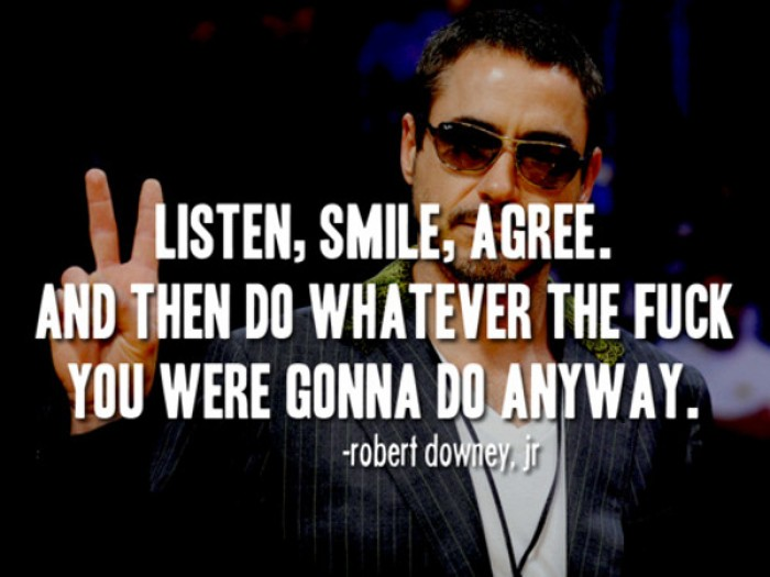 Robert Downey Jr. - Listen, smile, agree, and then do whatever...