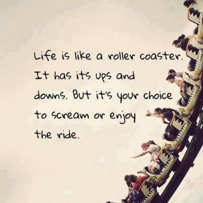 Life is like a roller coaster. It has it's ups and downs. But it's your choice...