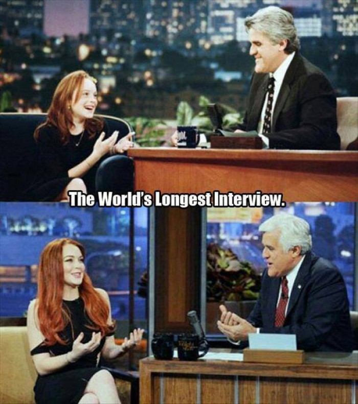 The world's longest interview, Jay Leno and Lindsay Lohan