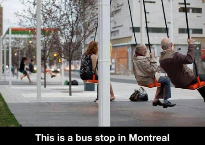 This is bus stopping in Montreal. Musical light swings on the streets of Montreal