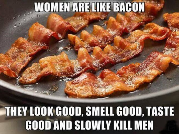 Women are like bacon they look good, smell good, taste good and...