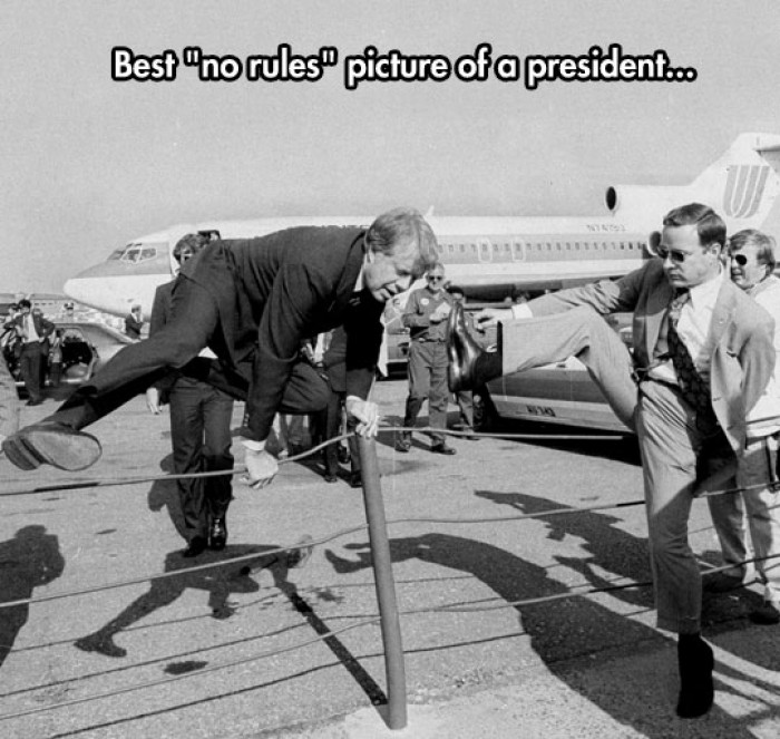 Jimmy Carter Jumping Over The Fence