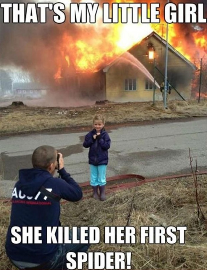A Dad Proud Of His Little Girl For First Spider Kill