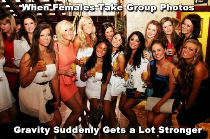 Something strange happens when females take group photos