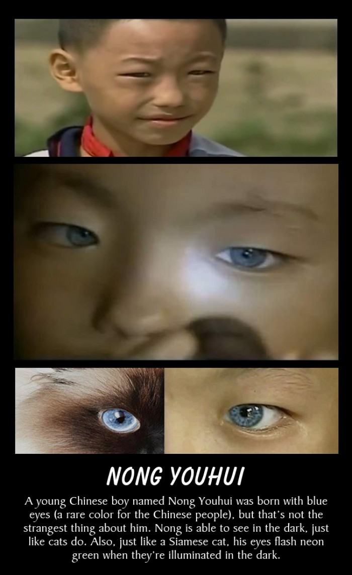 A young Chinese boy with blue eyes can see in the dark