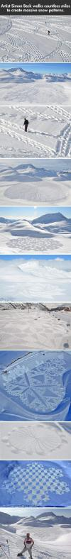 Artist simon Beck walks countless miles to create massive snow patterns.