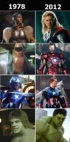 Superheroes from 1978 and 2012